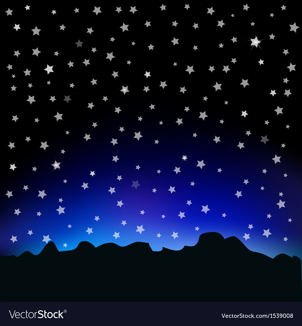 Starry sky and mountain landscape vector | Price: 1 Credit (USD $1)