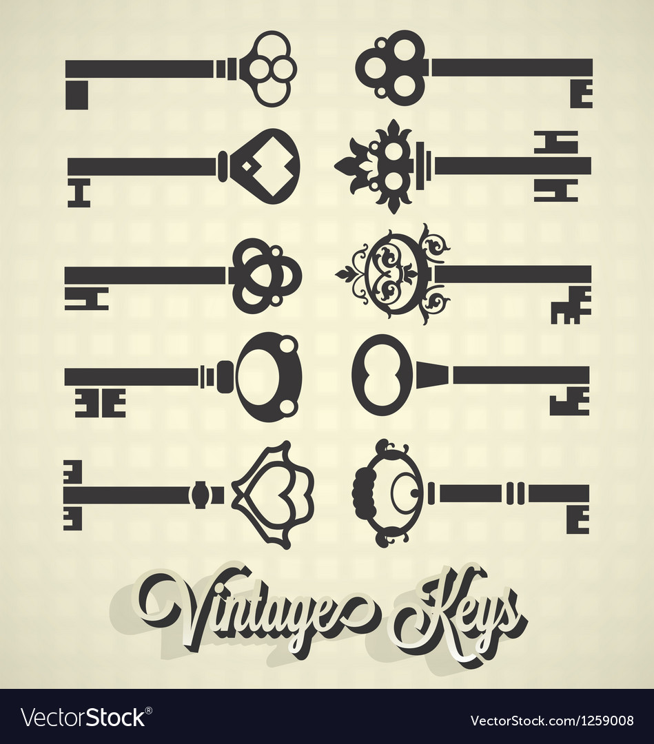 Vintage key silhouettes vector | Price: 1 Credit (USD $1)