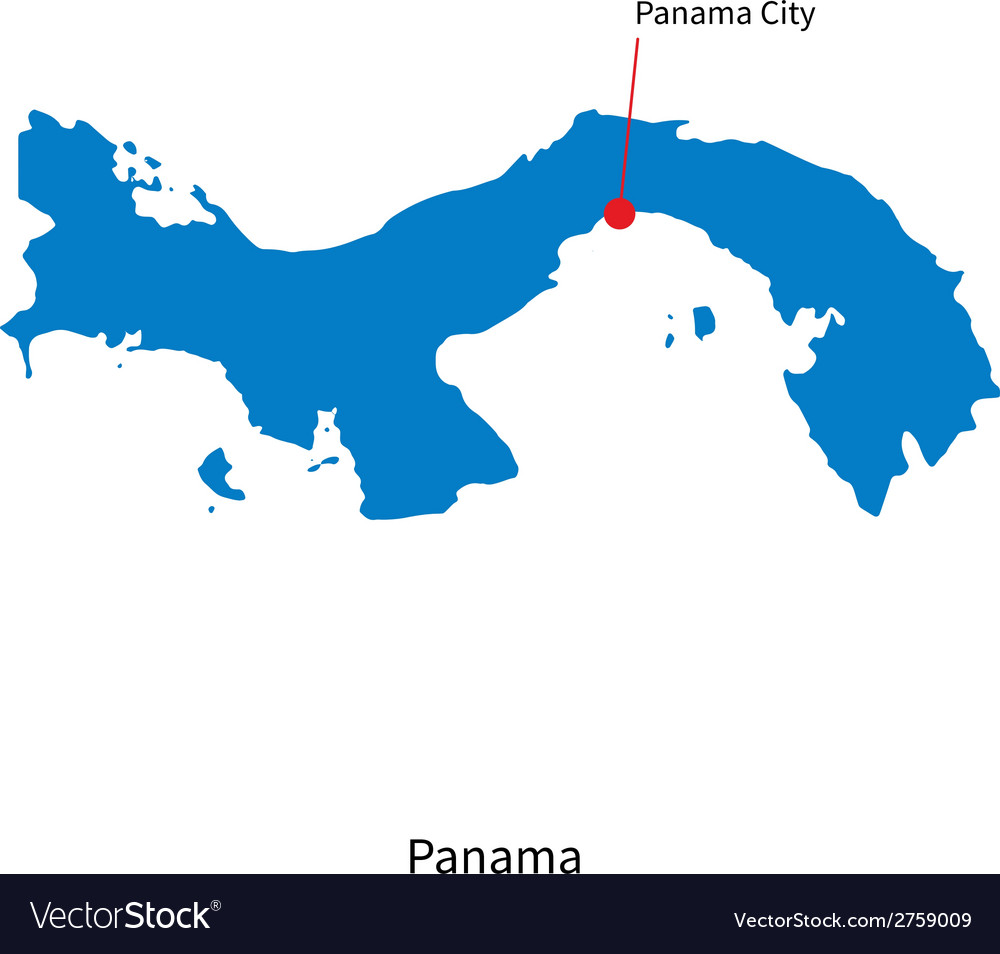 Detailed map of panama and capital city panama vector | Price: 1 Credit (USD $1)