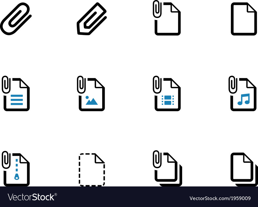 File clip duotone icons on white background vector | Price: 1 Credit (USD $1)