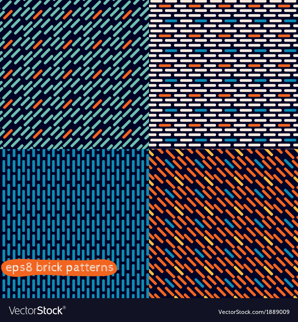 Four simple abstract seamless brick patterns vector | Price: 1 Credit (USD $1)
