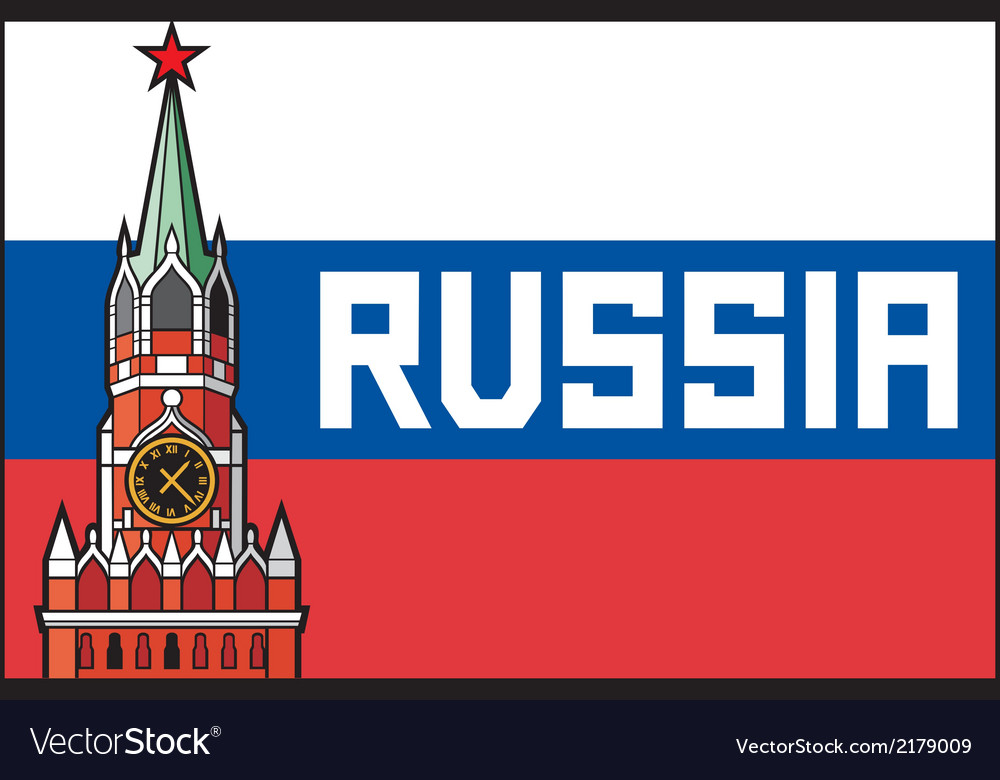 Kremlin tower with clock in moscow - russia flag vector | Price: 1 Credit (USD $1)