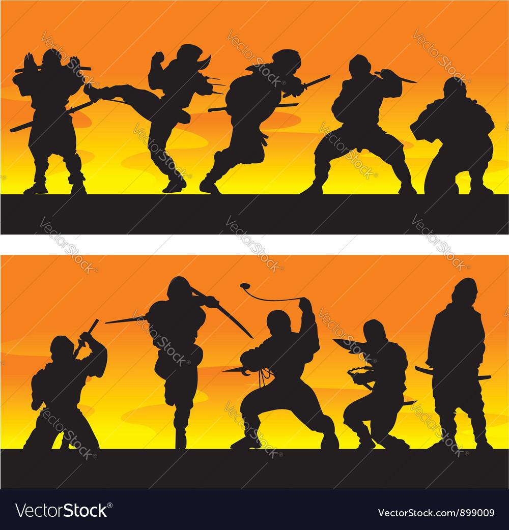 Ninja at sinrise vector | Price: 1 Credit (USD $1)