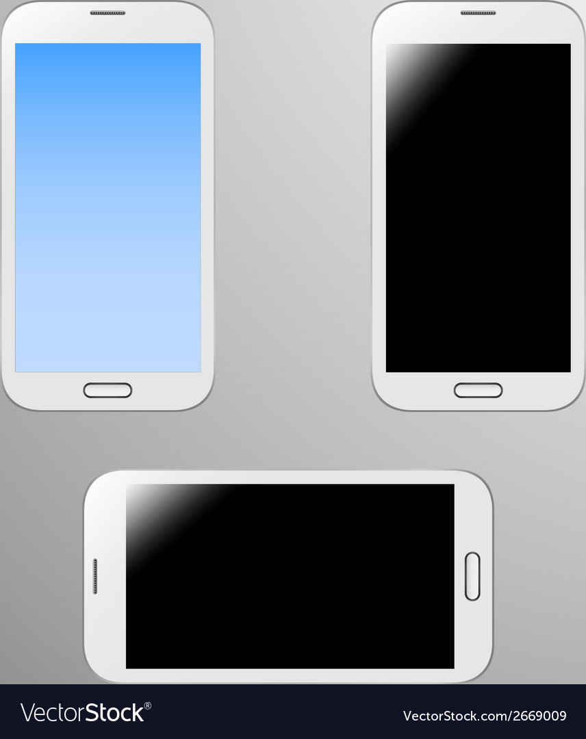 Realistic of a white smart phone vector | Price: 1 Credit (USD $1)