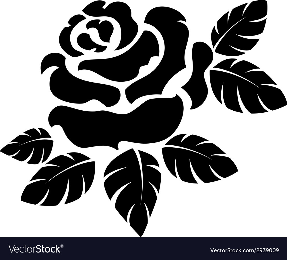 Rose silhouette vector | Price: 1 Credit (USD $1)