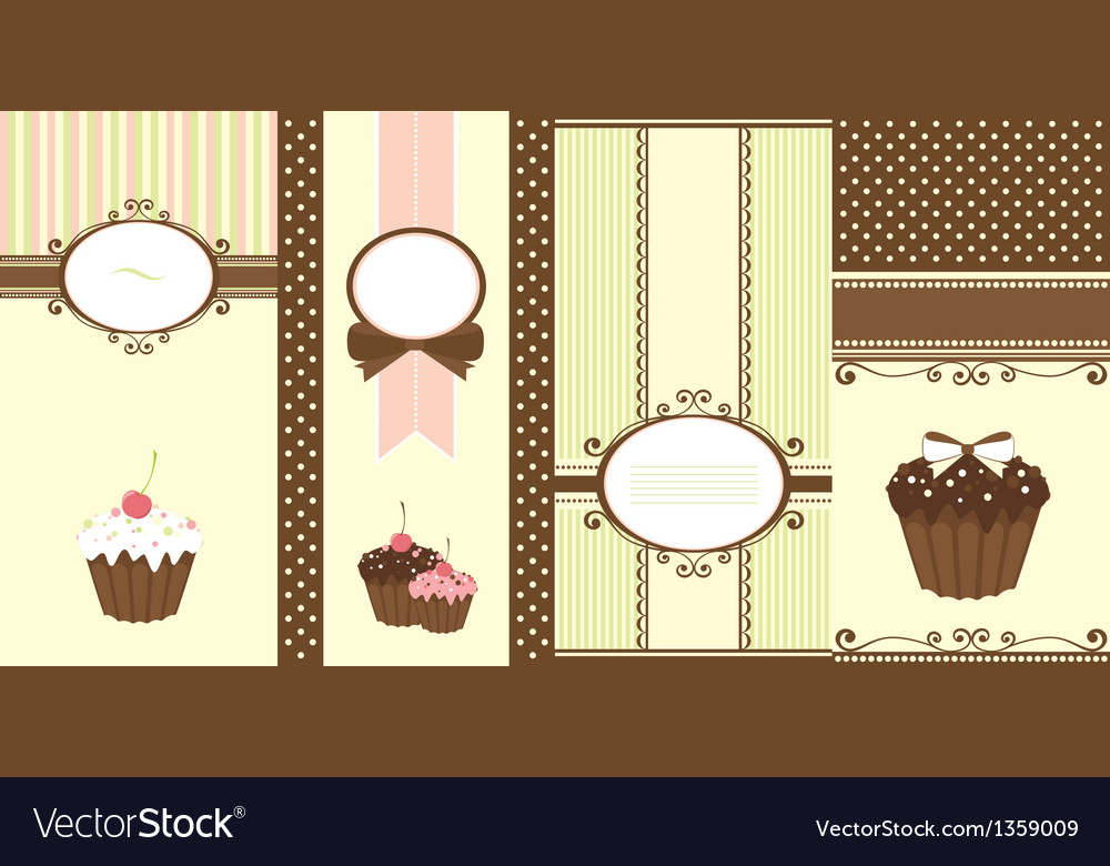 Set of banners with cupcakes vector | Price: 1 Credit (USD $1)
