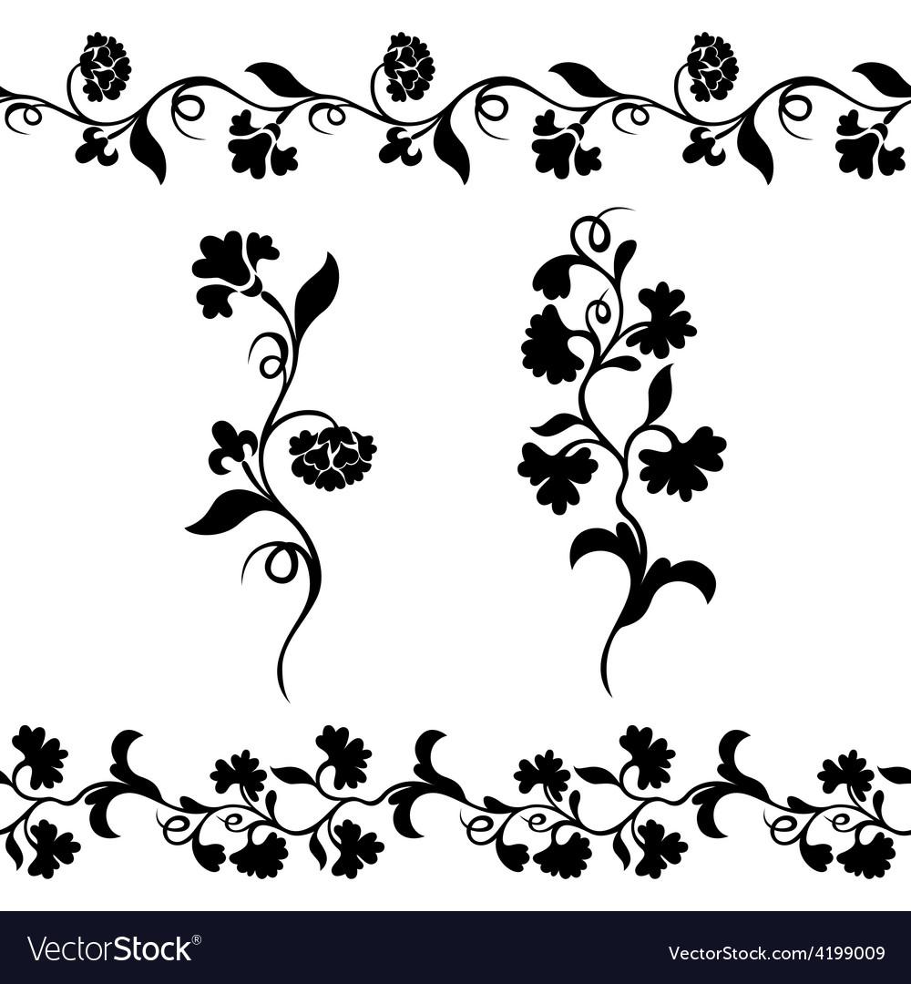 Silhouette design flower vector | Price: 1 Credit (USD $1)