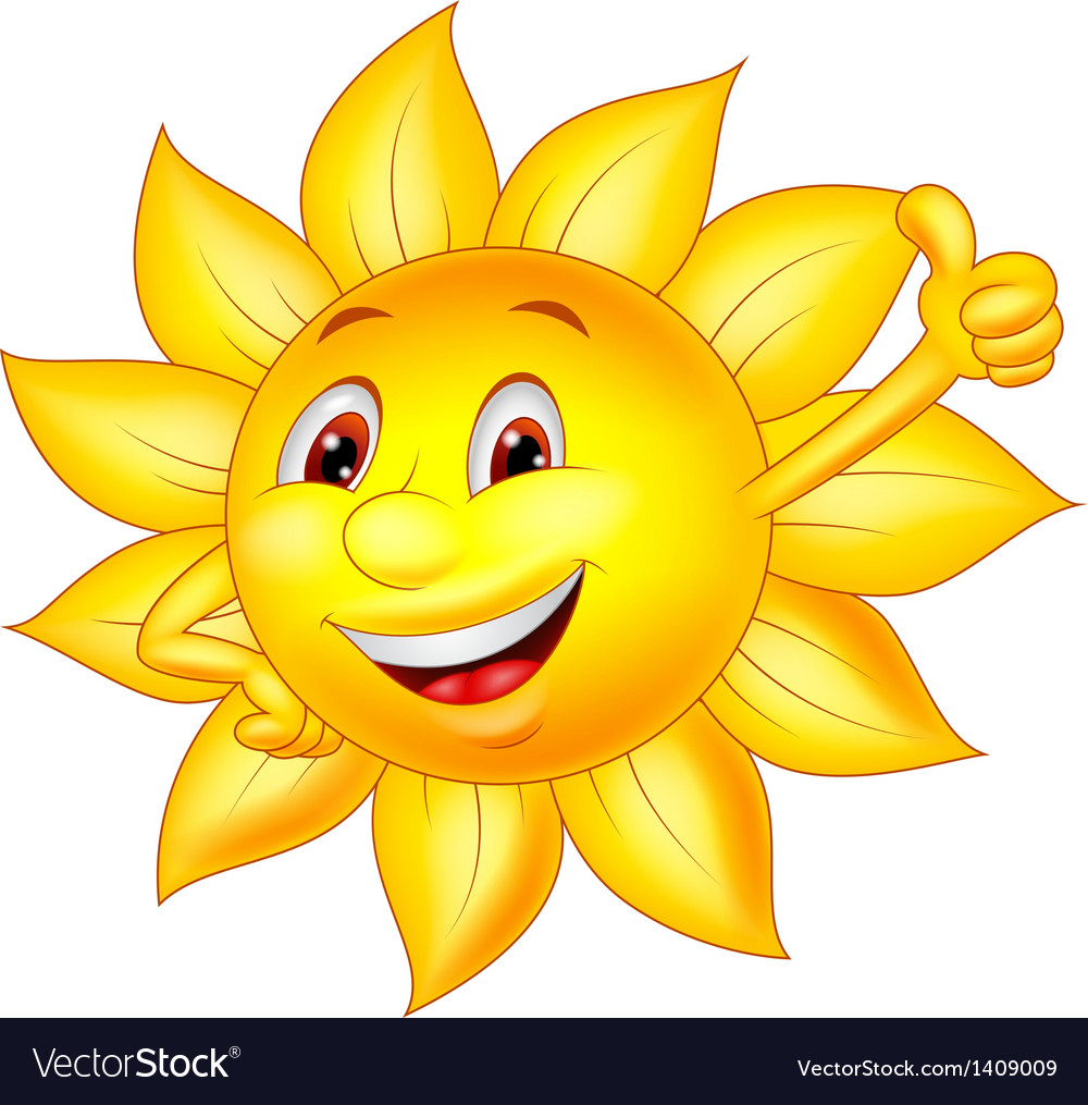 Sun cartoon character with thumb up vector | Price: 3 Credit (USD $3)