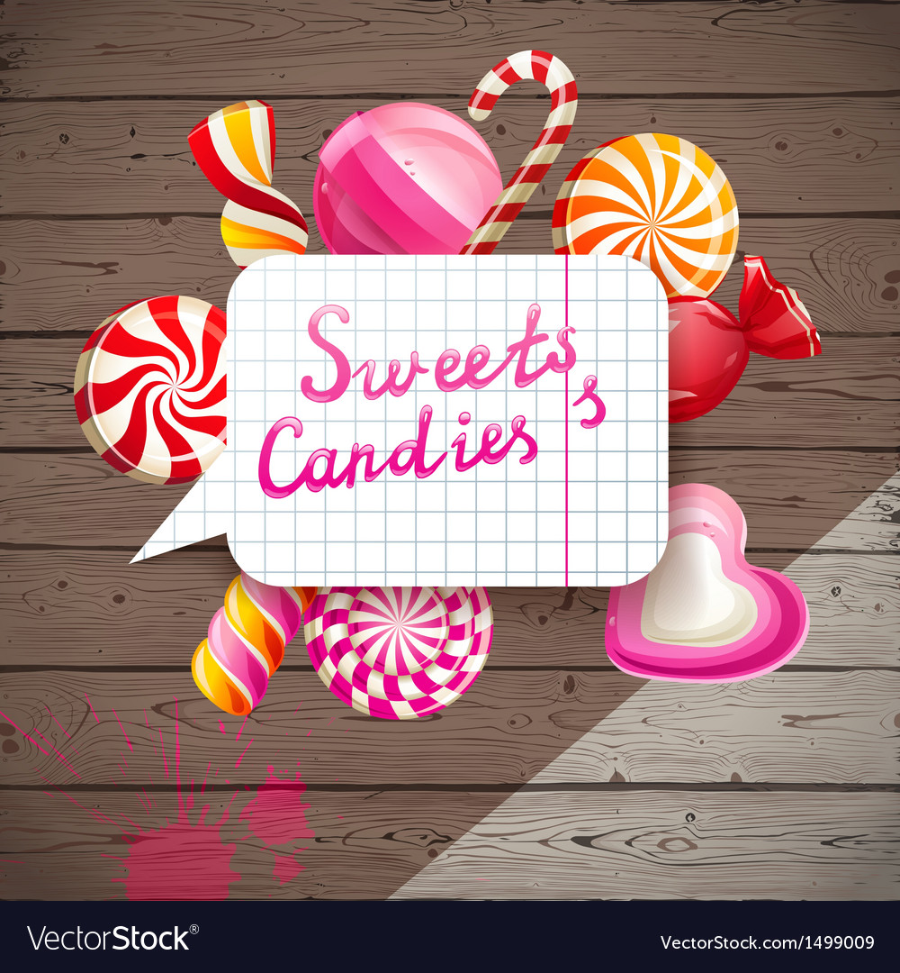 Wooden background with candies vector | Price: 1 Credit (USD $1)