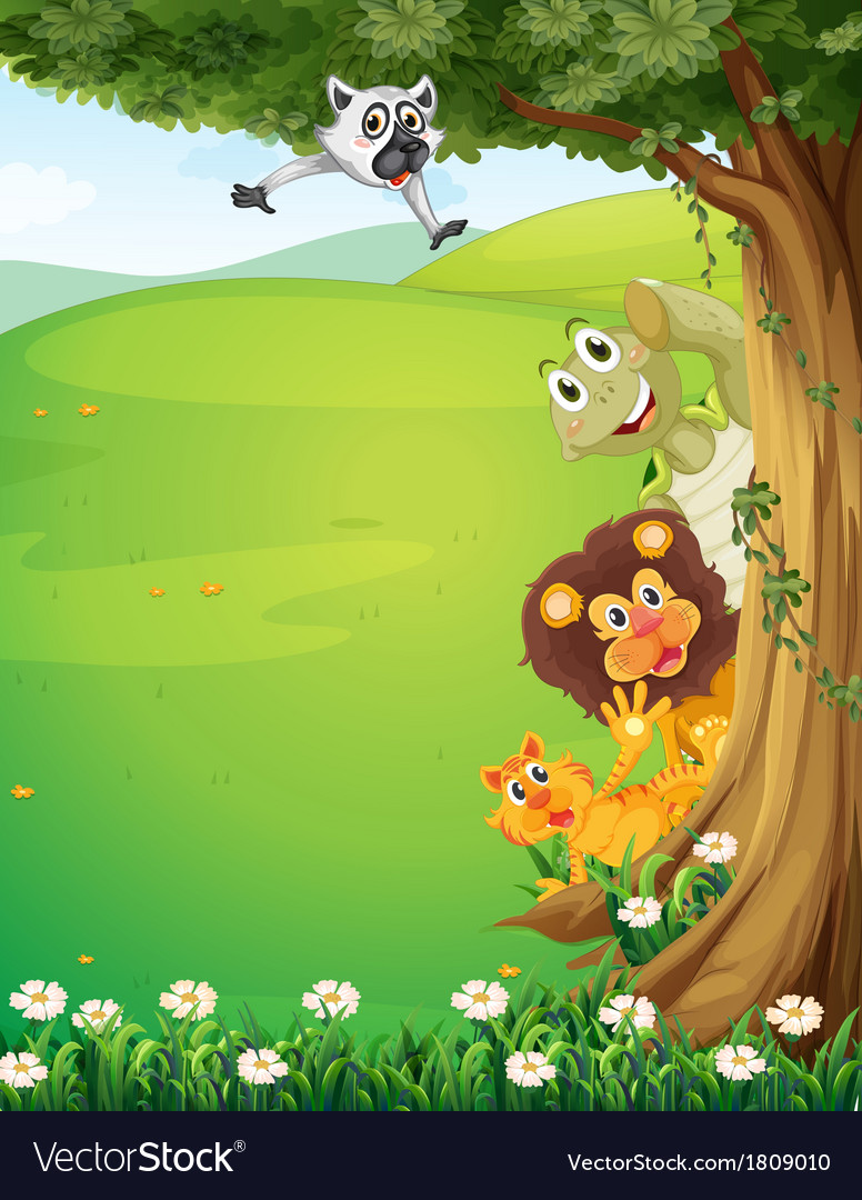 A tree at the top of the hills with animals hiding vector | Price: 1 Credit (USD $1)