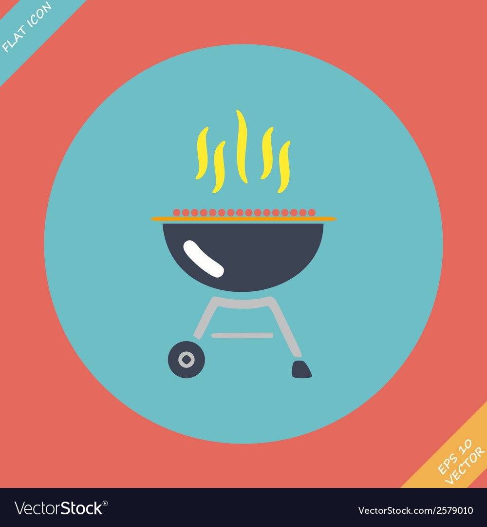 Barbecue grill icon -  flat vector | Price: 1 Credit (USD $1)