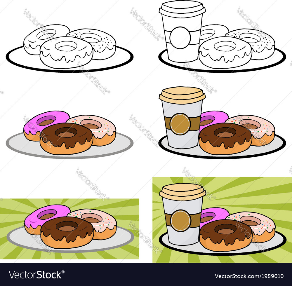 Donuts and coffee vector | Price: 1 Credit (USD $1)