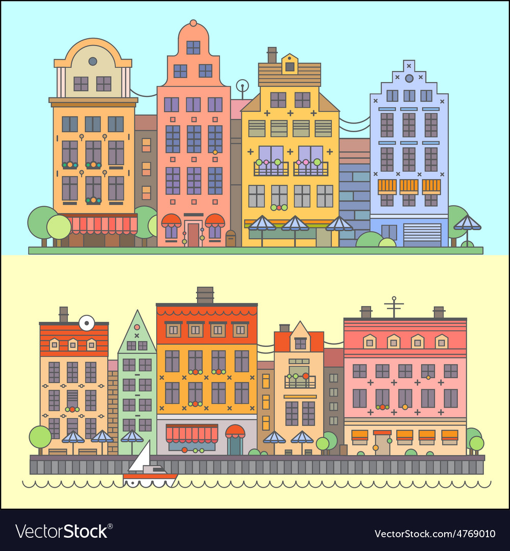 European street landscape vector | Price: 1 Credit (USD $1)