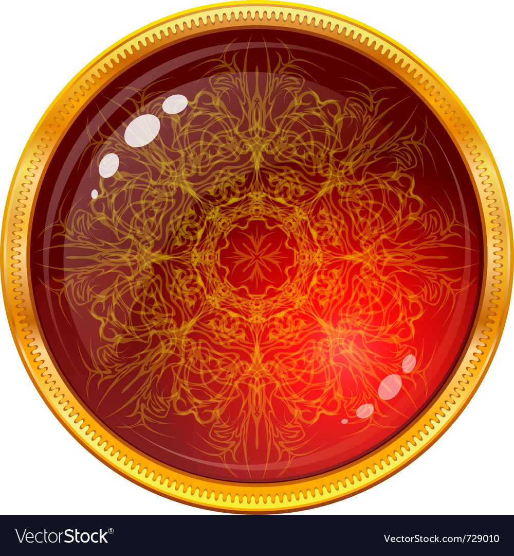 Golden button with patterned red gem vector | Price: 1 Credit (USD $1)