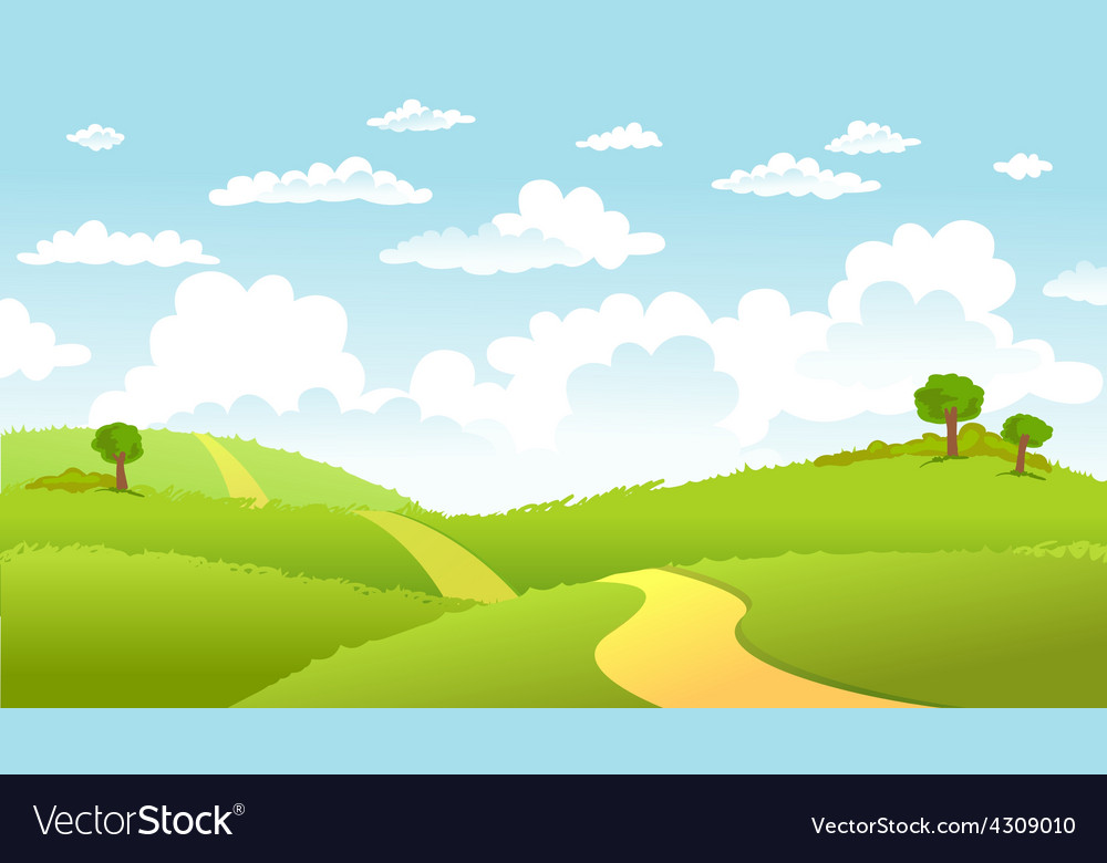 Green landscape and the road vector | Price: 3 Credit (USD $3)