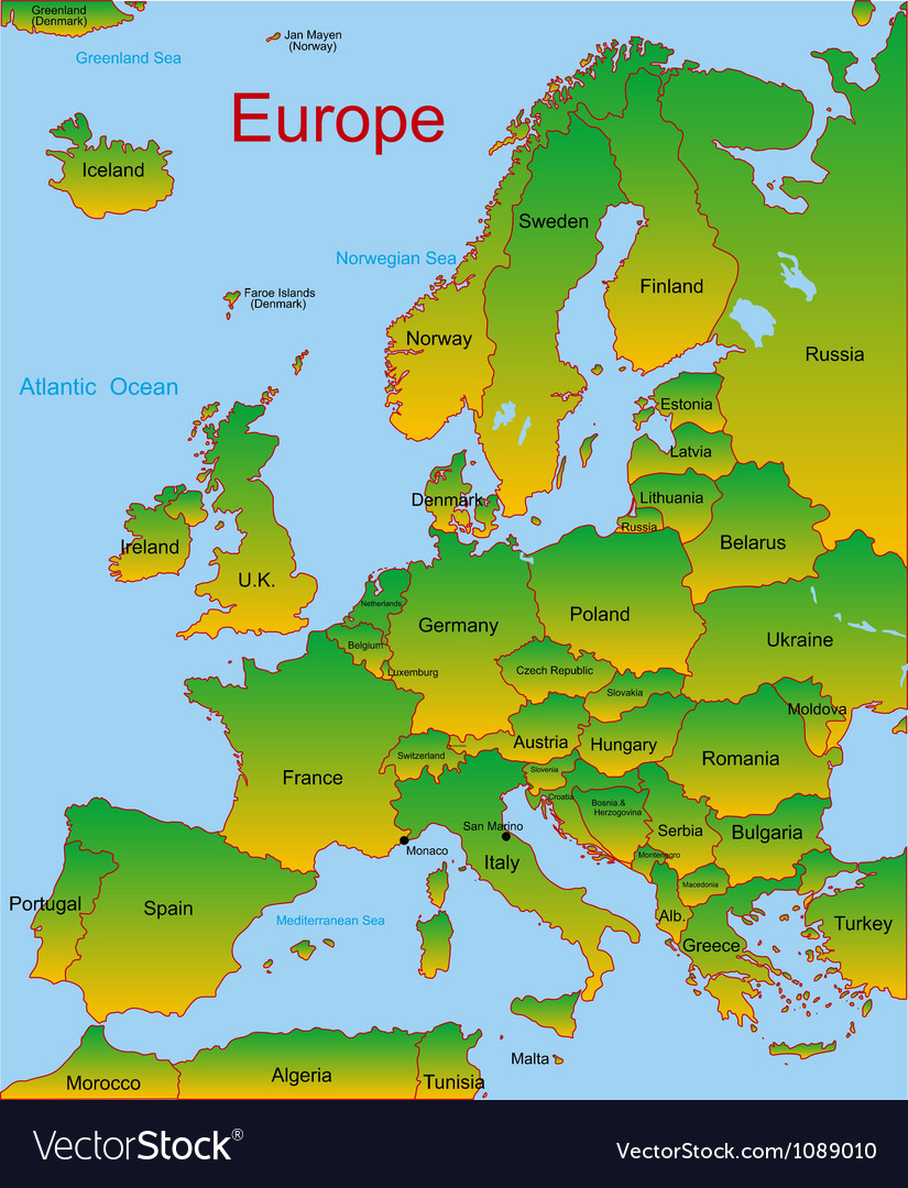 Map of european continent vector | Price: 1 Credit (USD $1)