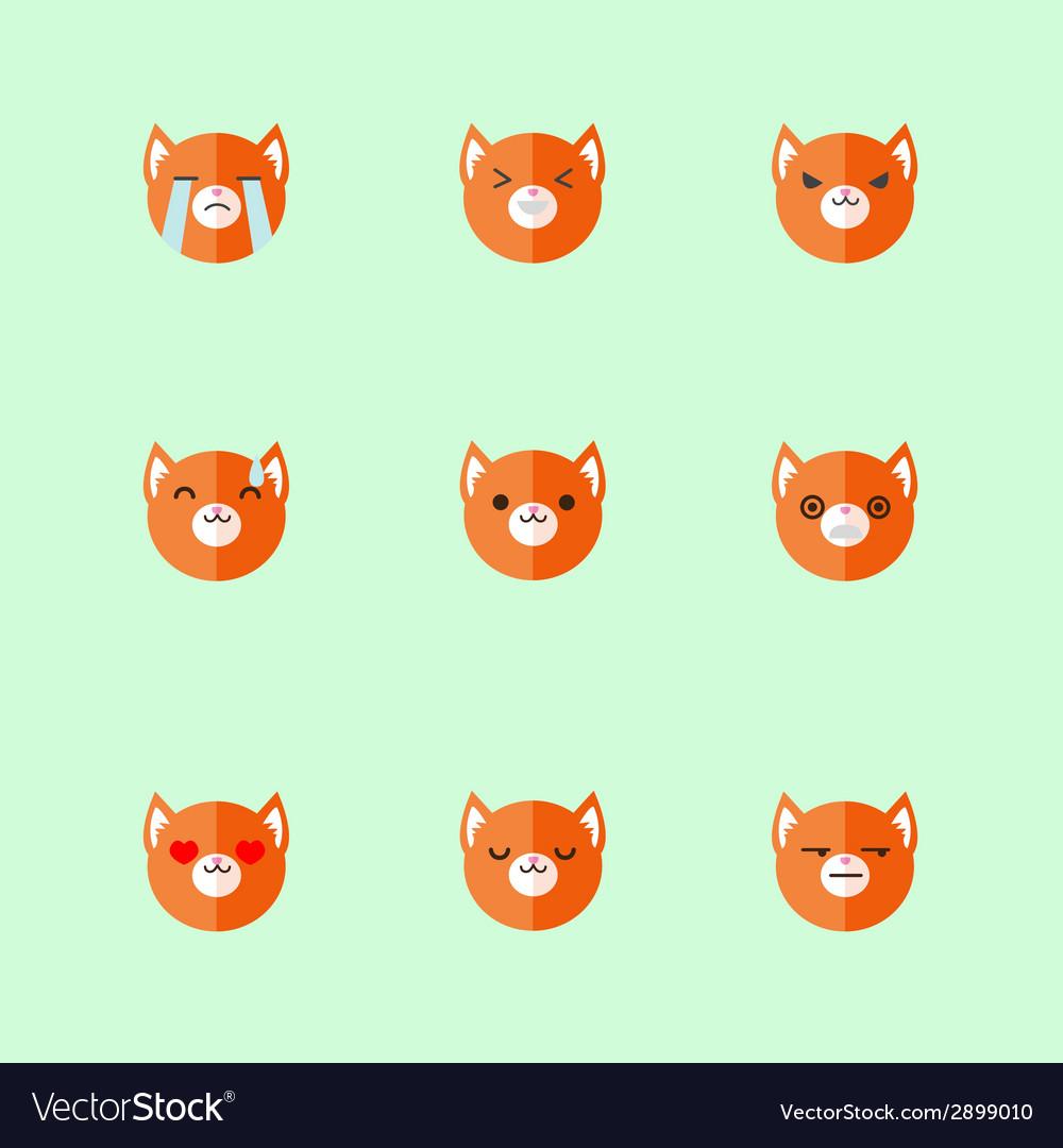 Minimalistic flat fox emotions icon set vector | Price: 1 Credit (USD $1)