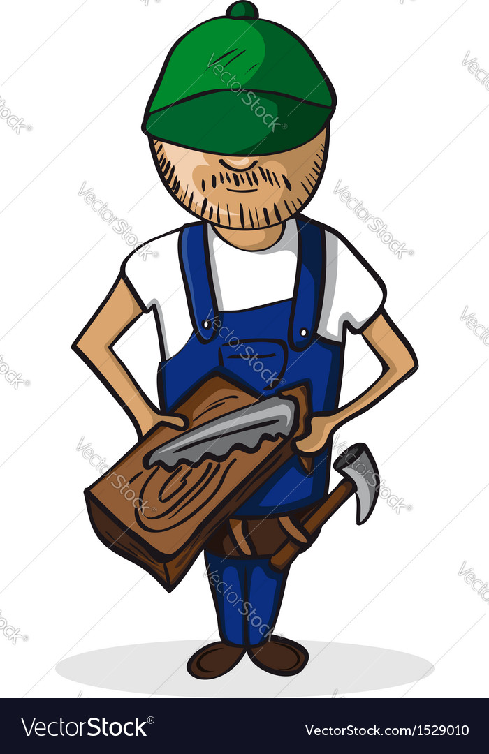 Profession carpenter man cartoon figure vector | Price: 3 Credit (USD $3)