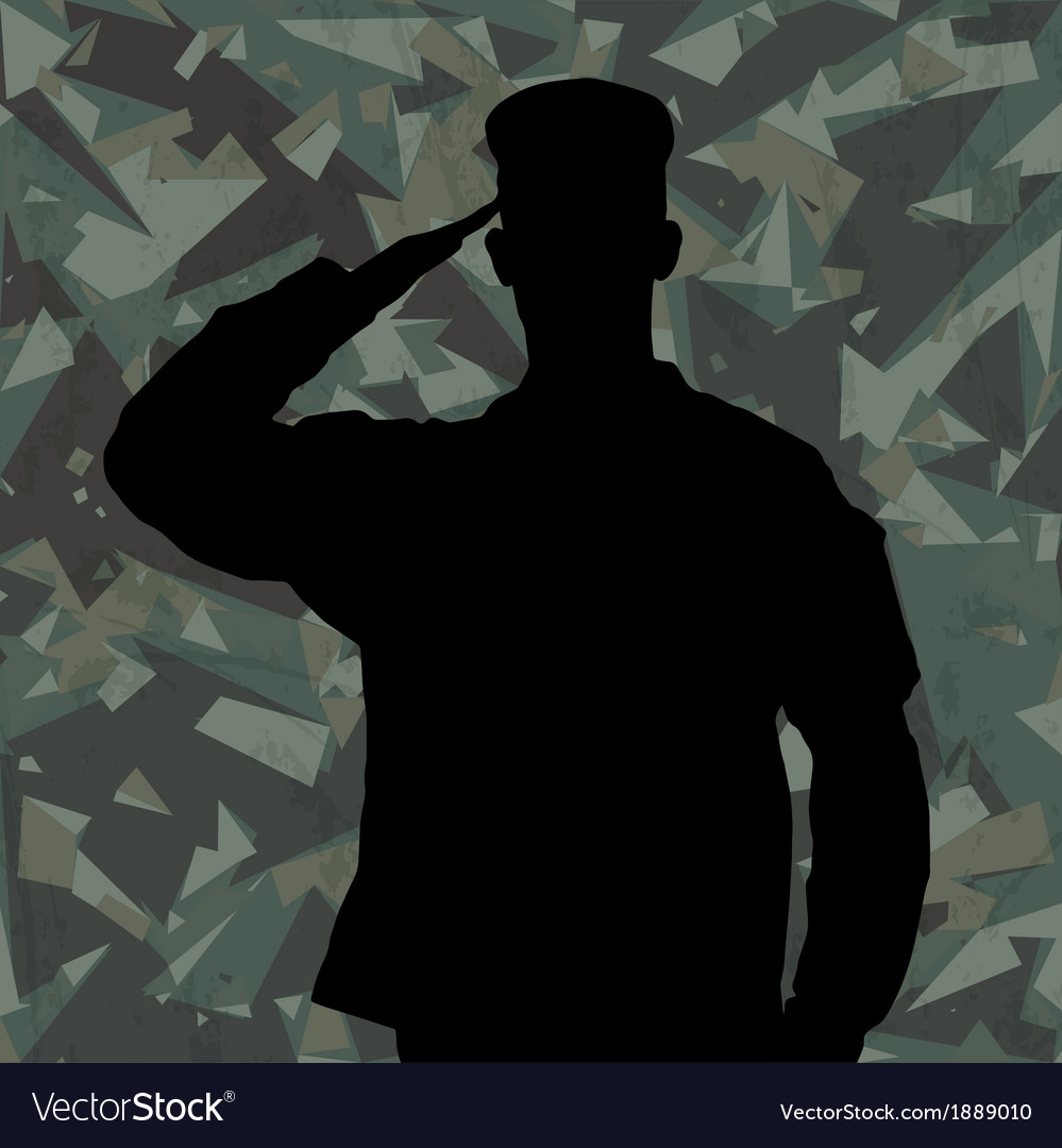 Saluting soldier on green army background vector | Price: 1 Credit (USD $1)