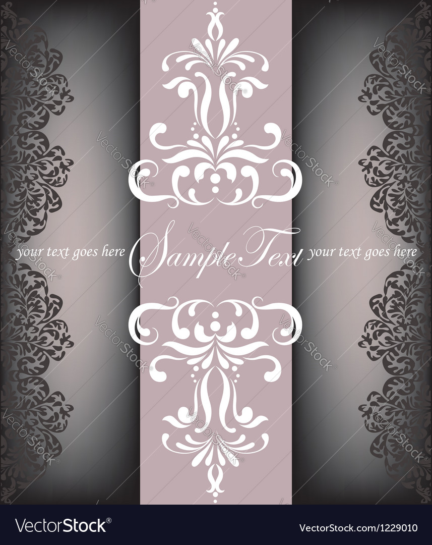 Vintage floral invitation card vector | Price: 1 Credit (USD $1)