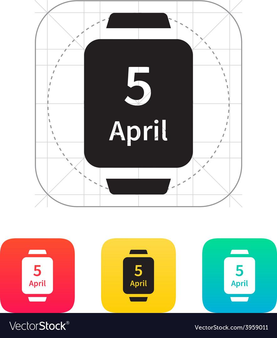 Calendar on smart watch icon vector | Price: 1 Credit (USD $1)