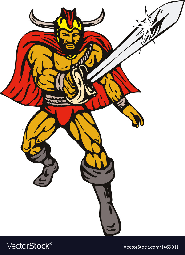 Cartoon viking super hero with sword vector | Price: 1 Credit (USD $1)