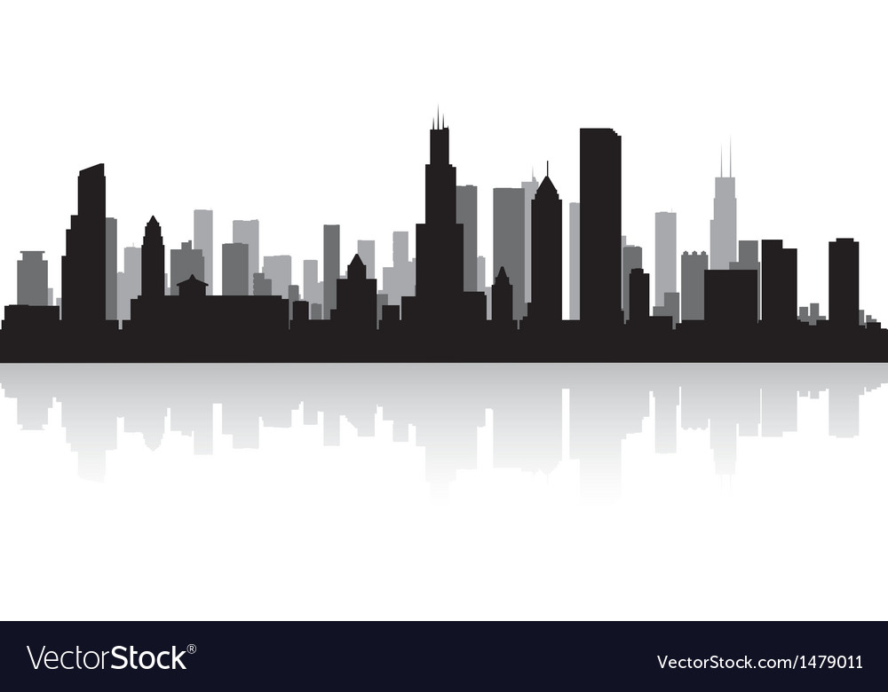 Chicago usa city skyline silhouette vector | Price: 1 Credit (USD $1)