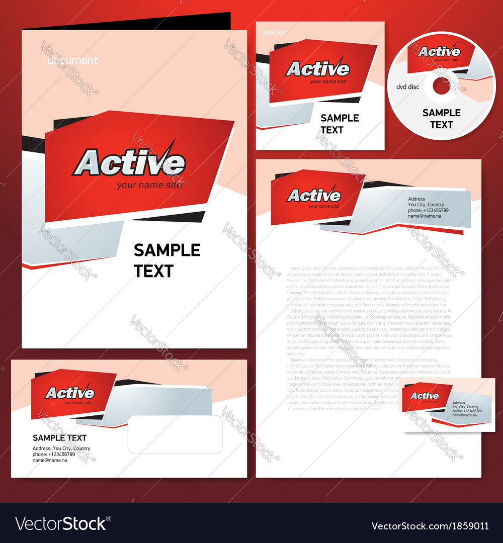 Corporate identity template design active abstract vector | Price: 1 Credit (USD $1)