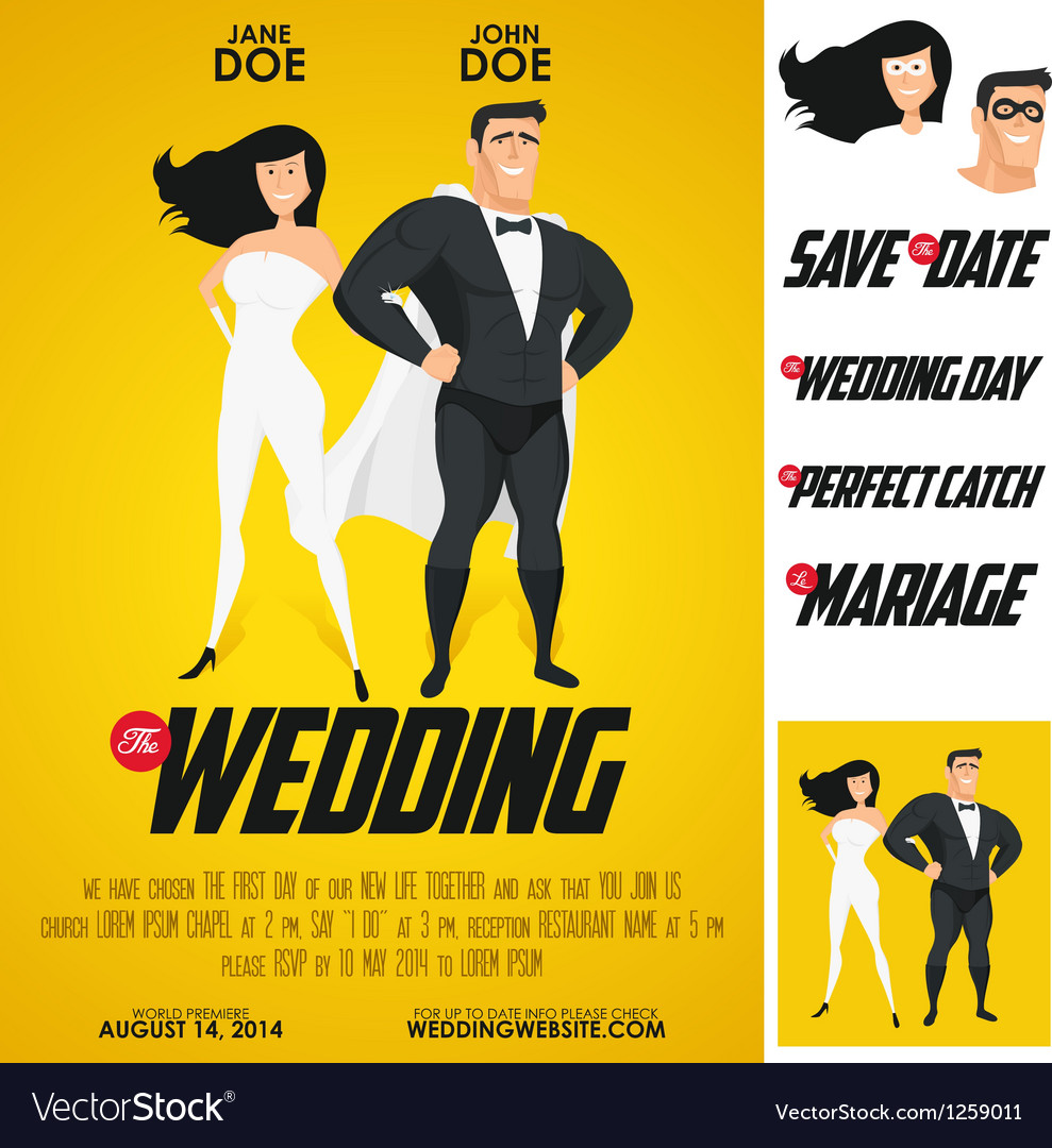 Funny super hero movie poster wedding invitation vector | Price: 1 Credit (USD $1)