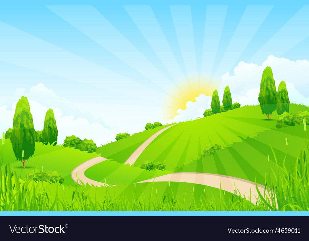 Green landscape with hills vector | Price: 5 Credit (USD $5)