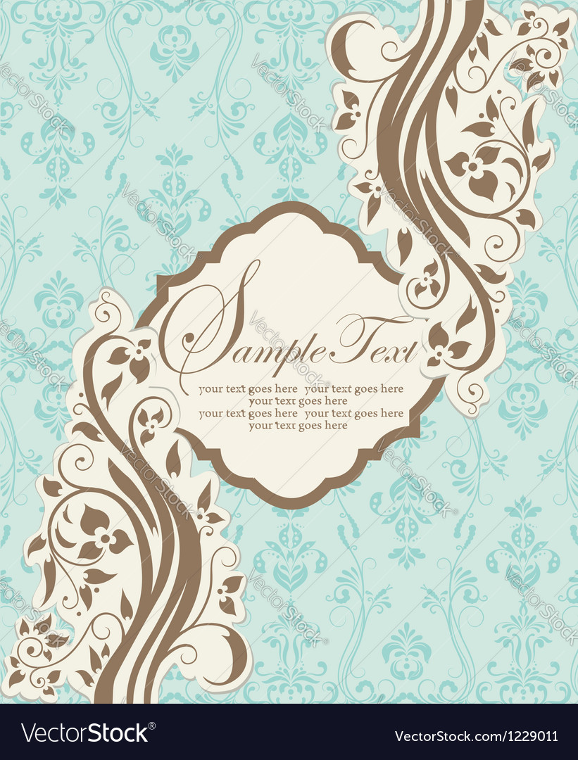 Invitation card on abstract floral background vector | Price: 1 Credit (USD $1)