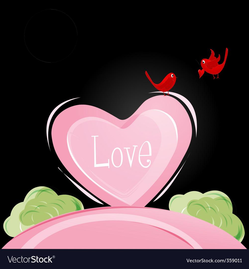 Love birds in valentine card vector | Price: 1 Credit (USD $1)