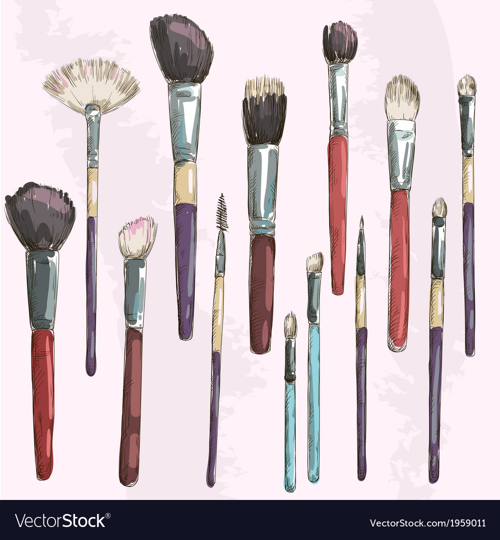 Make up brushes collection fashion vector | Price: 1 Credit (USD $1)