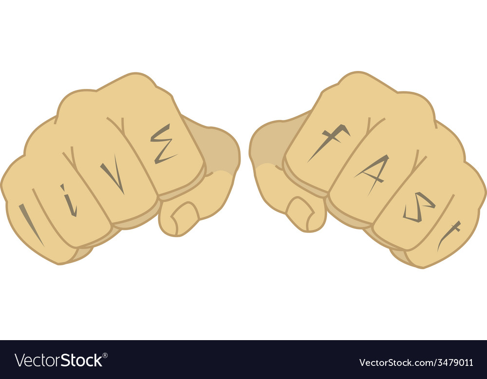 Man fists with live fast tattoo vector | Price: 1 Credit (USD $1)