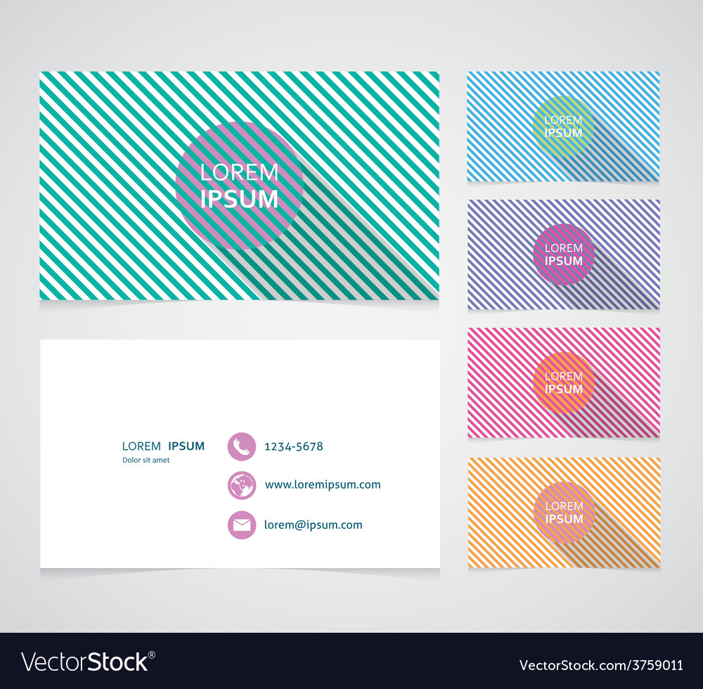 Set of business cards with color vector | Price: 1 Credit (USD $1)