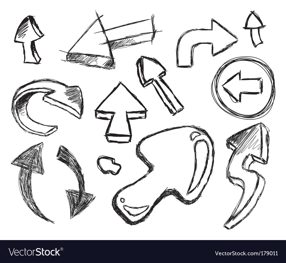 Set of hand drawn arrows vector | Price: 3 Credit (USD $3)