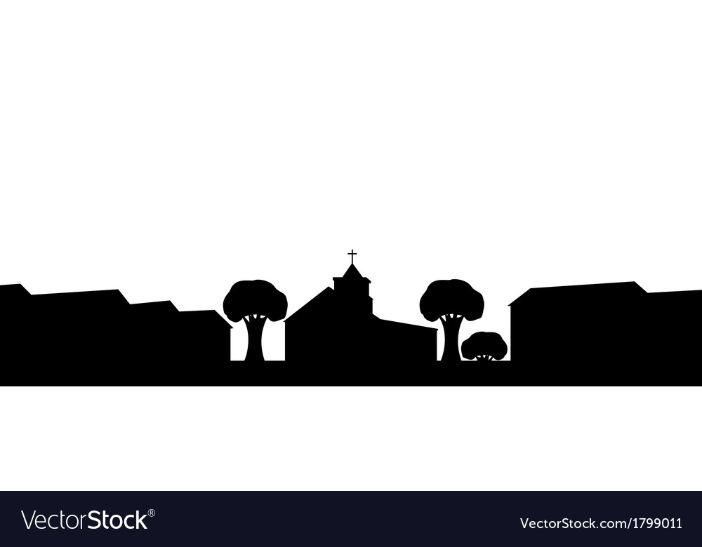 Silhouette of the church in the town vector | Price: 1 Credit (USD $1)