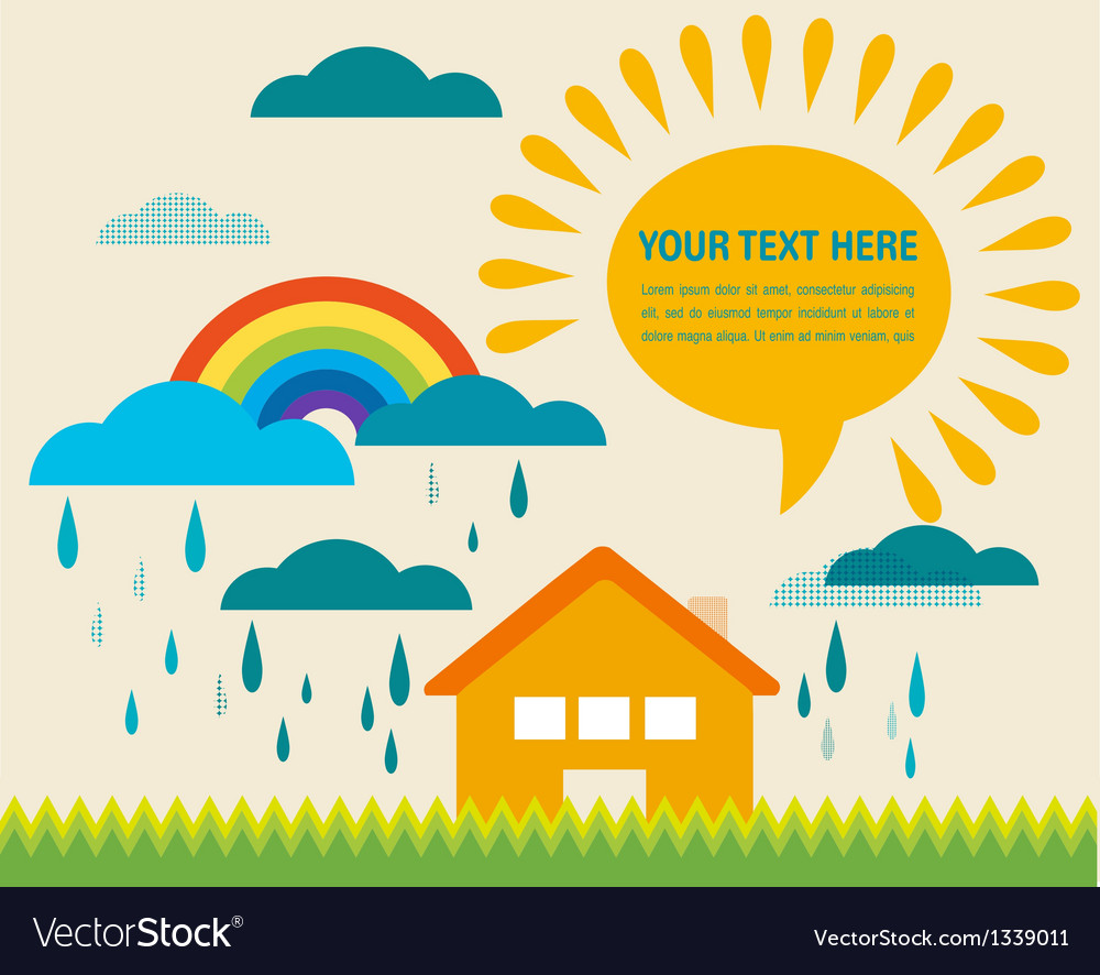 Spring time with sun and raining clouds vector | Price: 1 Credit (USD $1)