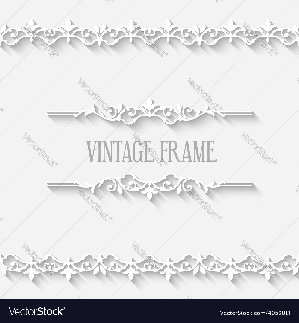 Vintage border white frame vector | Price: 3 Credit (USD $3)