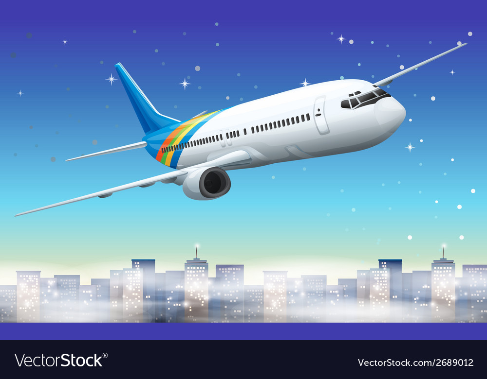 A big plane in the sky vector | Price: 1 Credit (USD $1)