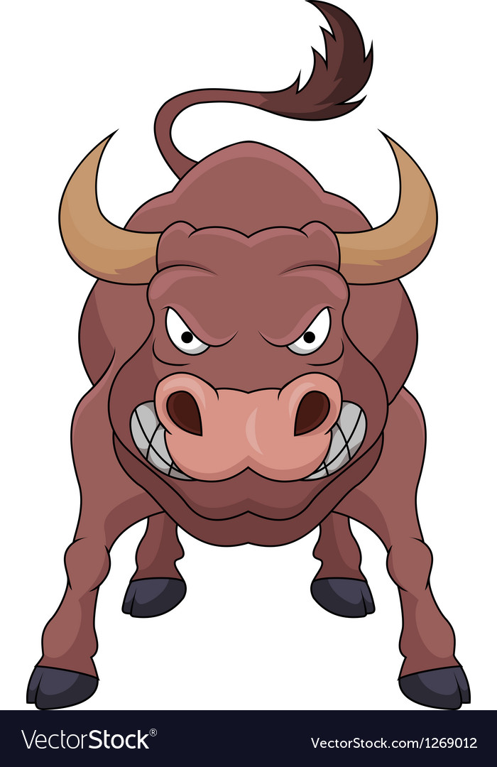 Angry bull cartoon vector | Price: 1 Credit (USD $1)