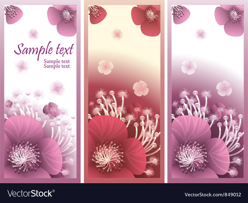 Banner with flowers vector | Price: 1 Credit (USD $1)