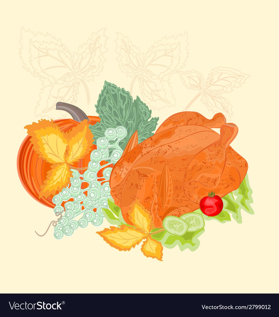 Celebratory food christmas thanksgiving vintage vector | Price: 1 Credit (USD $1)