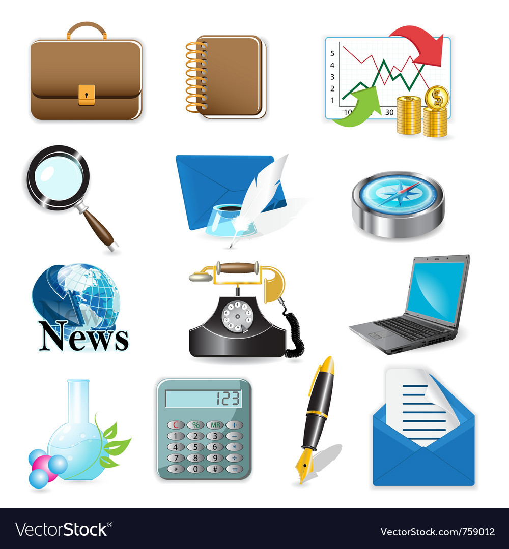Computer and office icons vector | Price: 3 Credit (USD $3)