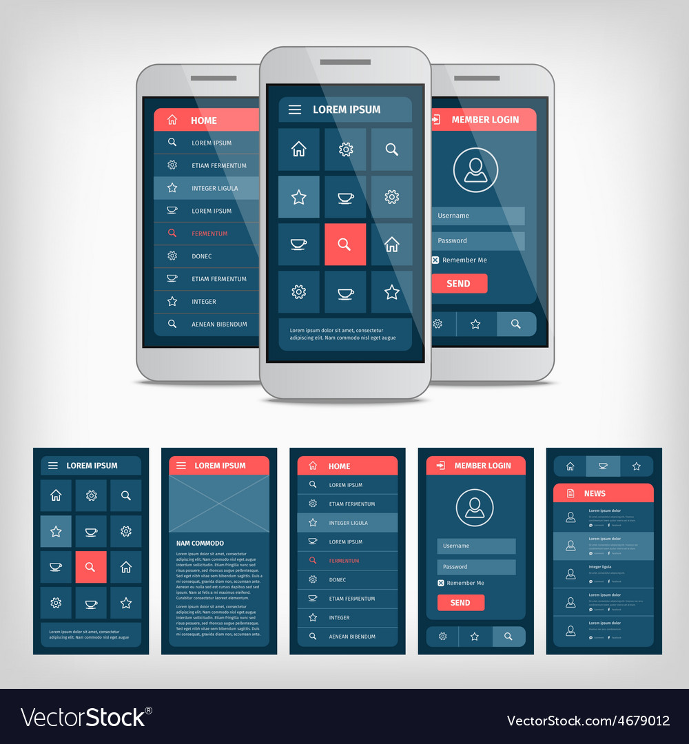 Conception of mobile user interface vector | Price: 1 Credit (USD $1)