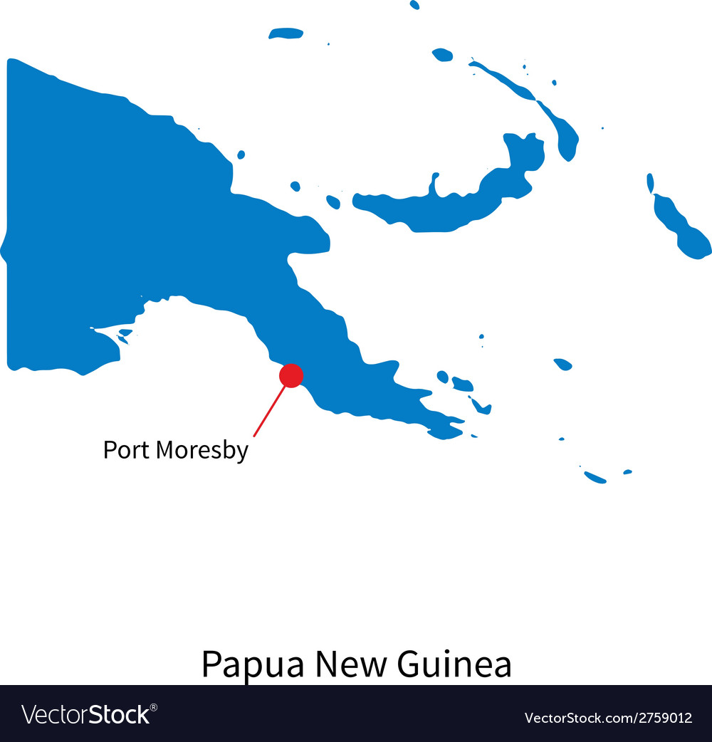 Detailed map of papua new guinea and capital city vector | Price: 1 Credit (USD $1)