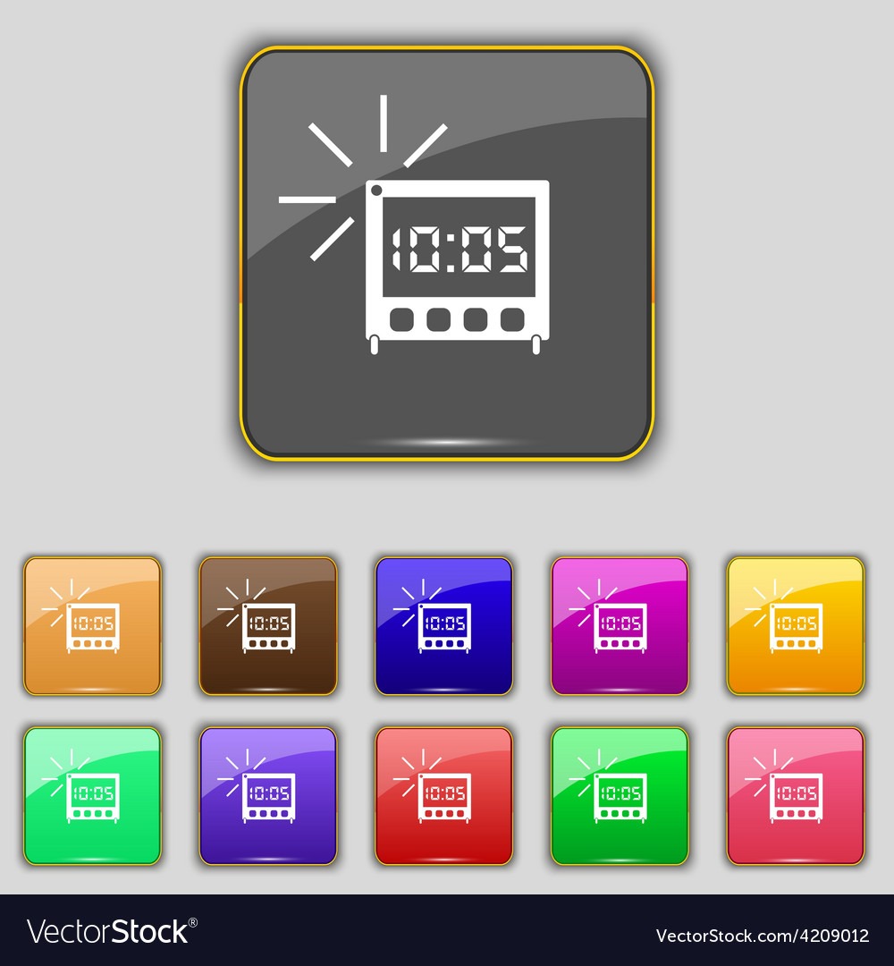 Digital alarm clock icon sign set with eleven vector | Price: 1 Credit (USD $1)