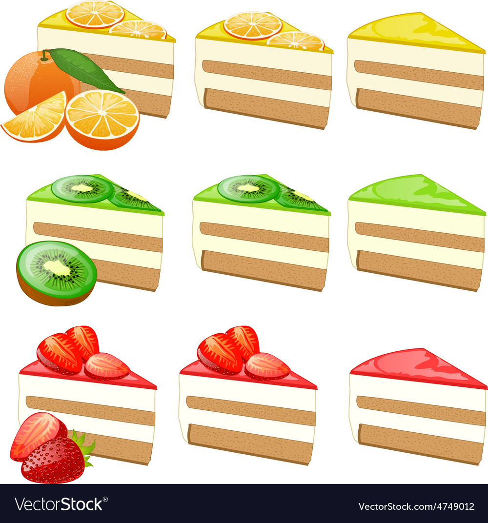 Fruit cakes set vector | Price: 3 Credit (USD $3)
