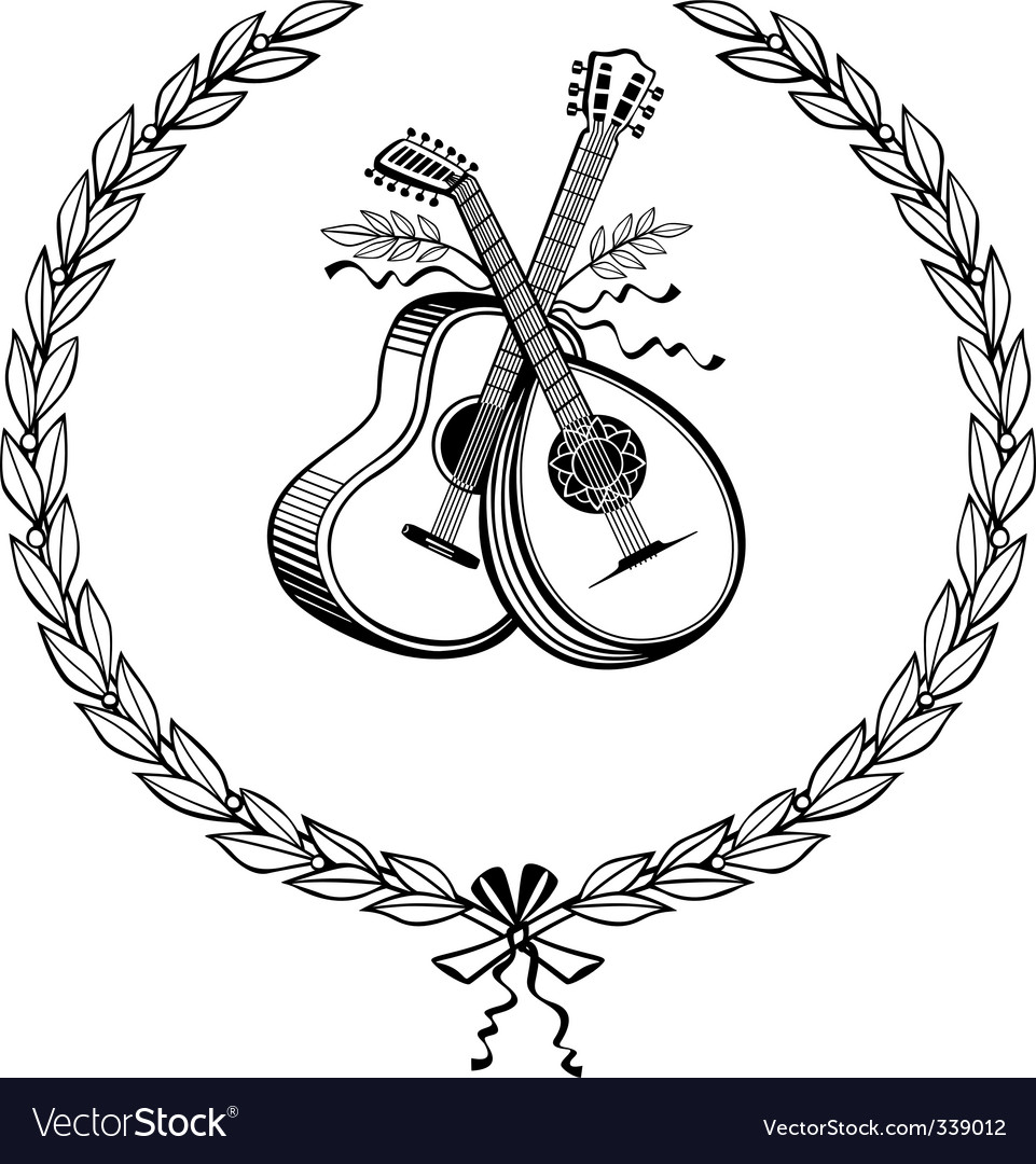 Laurel wreath with instruments vector | Price: 1 Credit (USD $1)