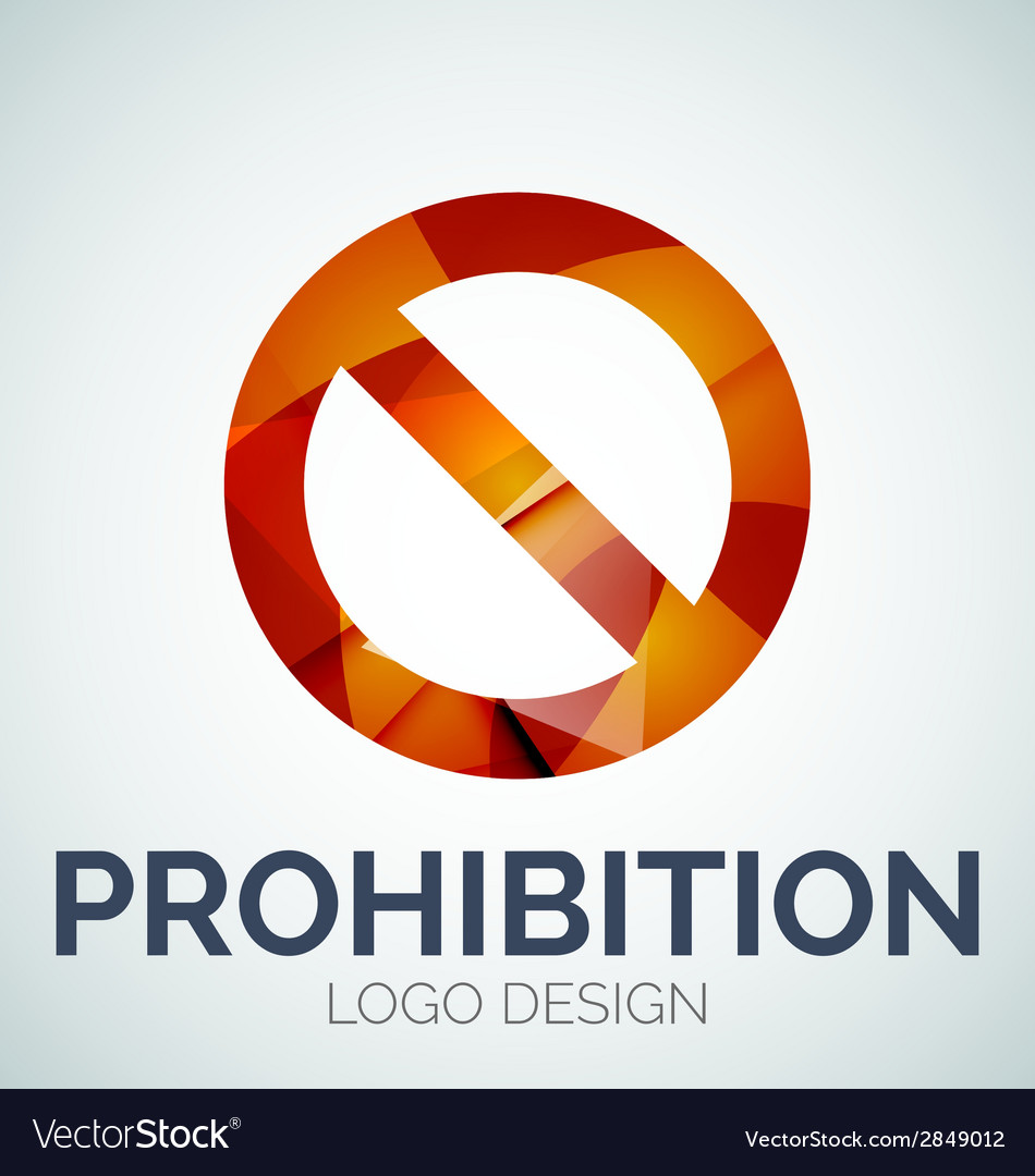 Prohibition symbol logo made of color pieces vector | Price: 1 Credit (USD $1)